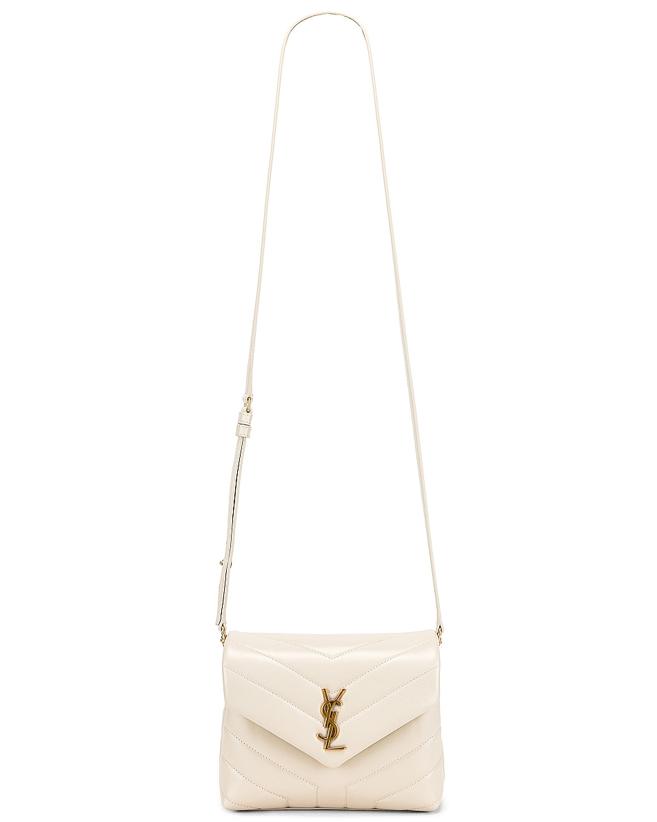 Image 6 of Saint Laurent Toy Supple Monogramme Loulou Strap Bag in Crema Soft