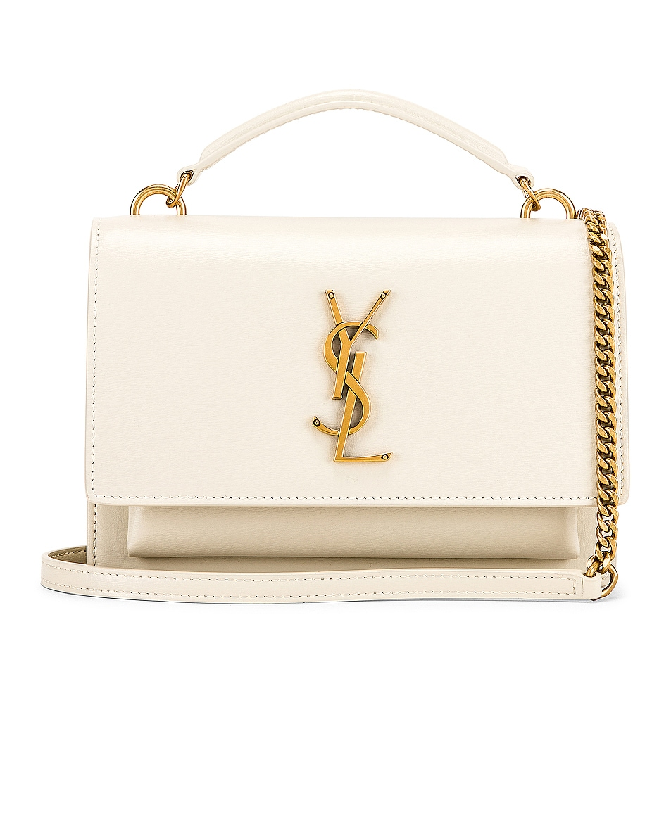 Image 1 of Saint Laurent Sunset Monogramme Crossbody Bag in Crema Soft