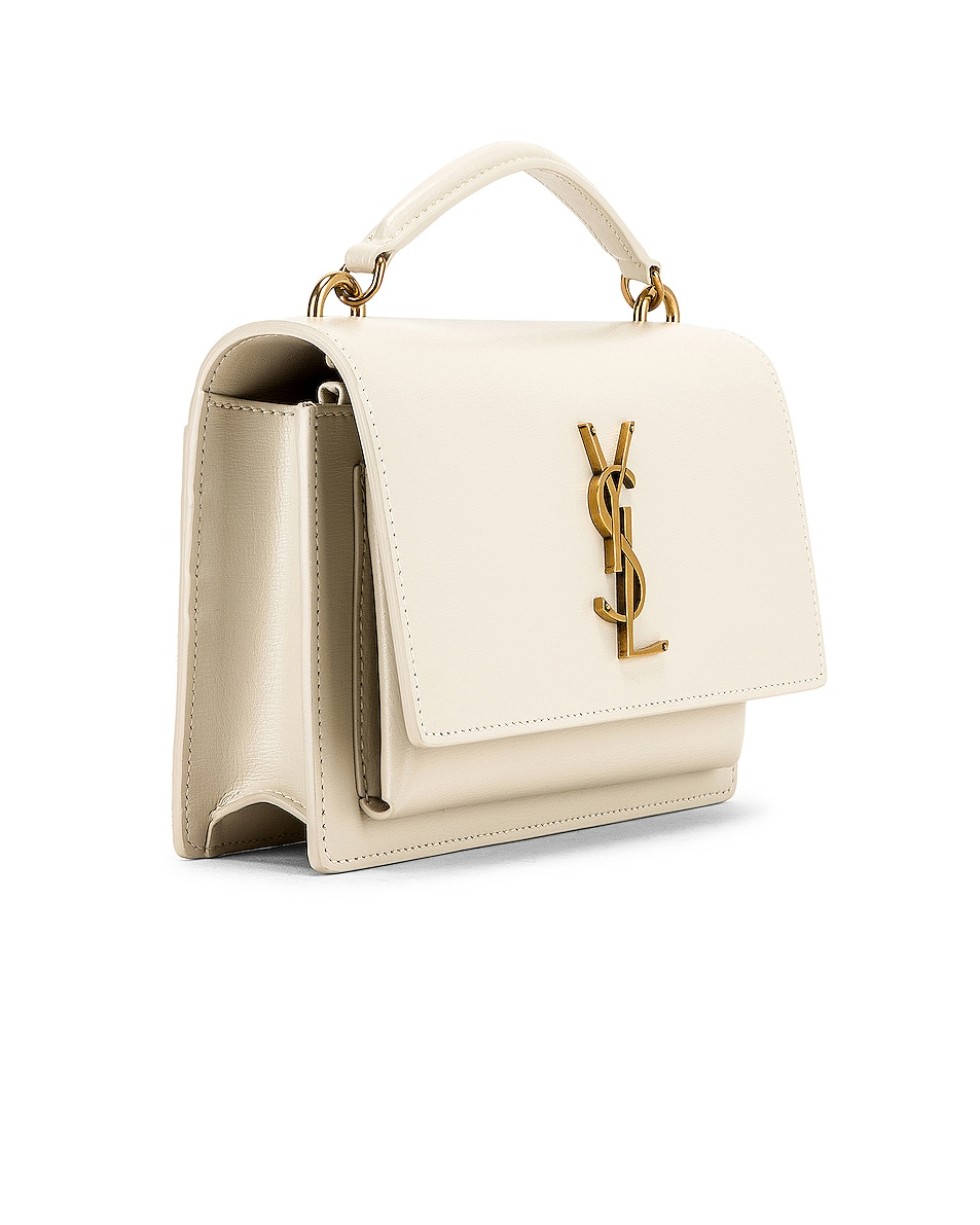 Image 4 of Saint Laurent Sunset Monogramme Crossbody Bag in Crema Soft