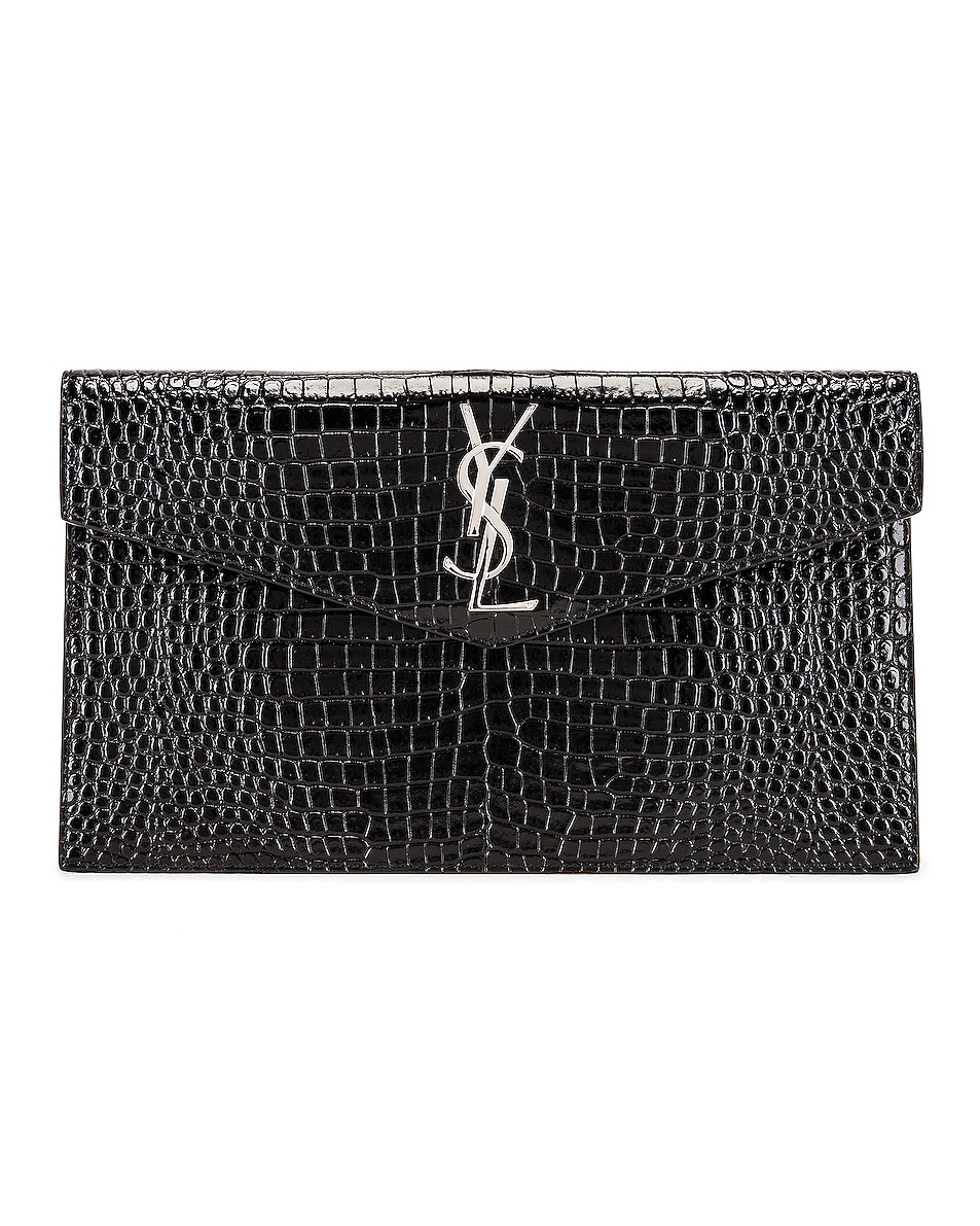 Image 1 of Saint Laurent Uptown Medium Envelope Clutch in Black