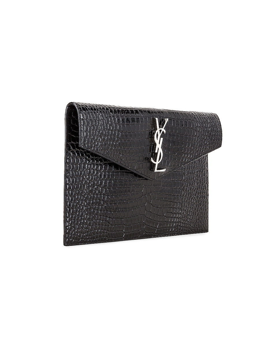 Image 4 of Saint Laurent Uptown Medium Envelope Clutch in Black