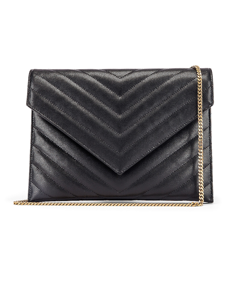Image 1 of Saint Laurent Leather Tribeca Chain Wallet Bag in Black