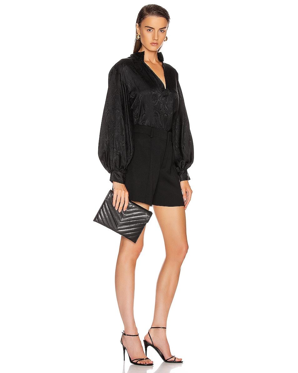 Image 2 of Saint Laurent Leather Tribeca Chain Wallet Bag in Black