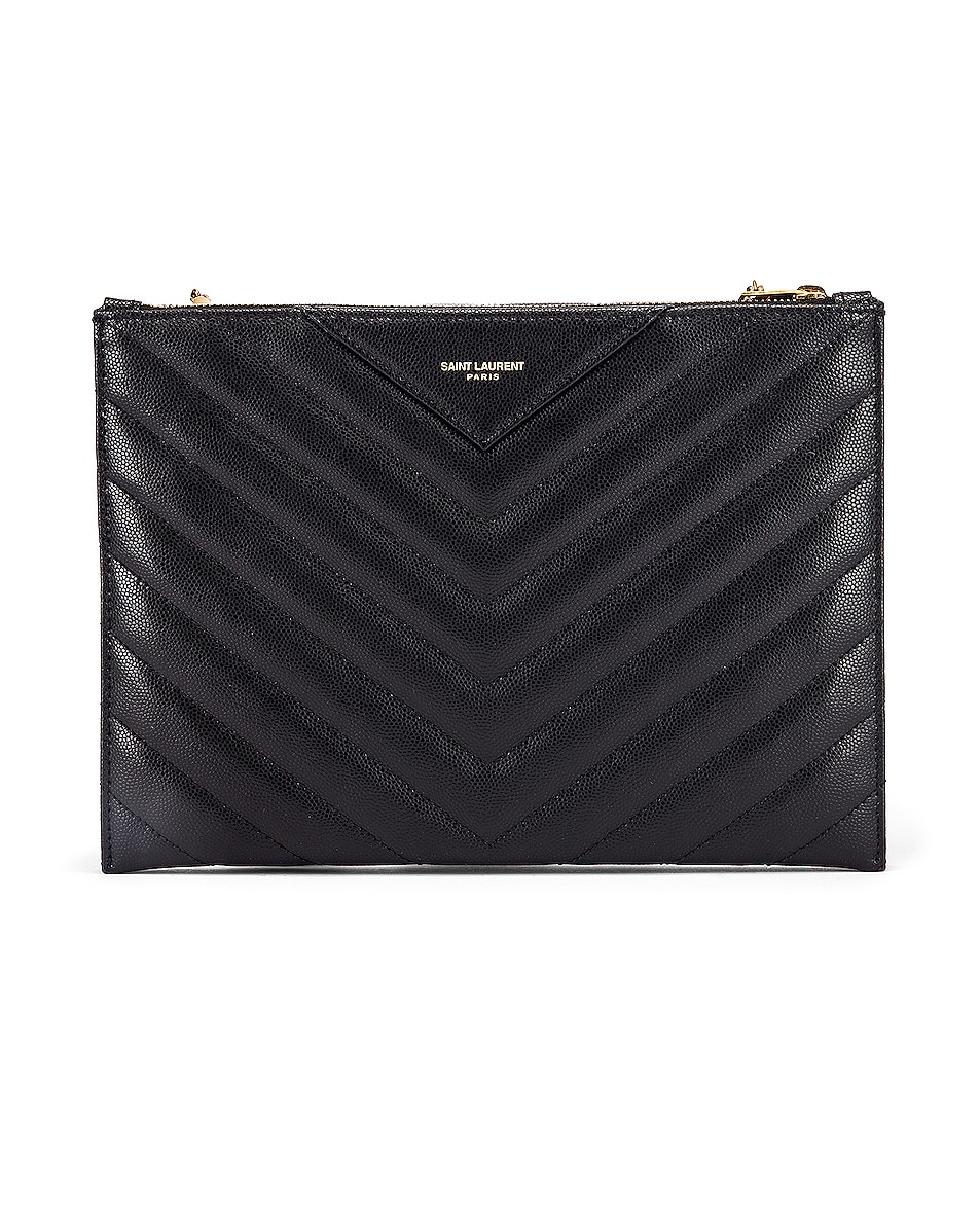Image 3 of Saint Laurent Leather Tribeca Chain Wallet Bag in Black