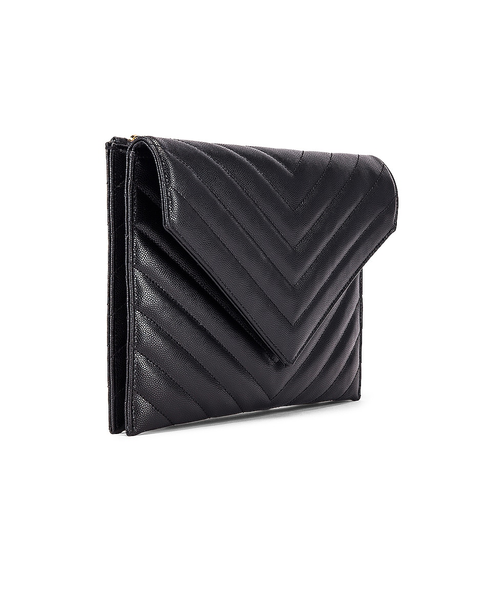 Image 4 of Saint Laurent Leather Tribeca Chain Wallet Bag in Black