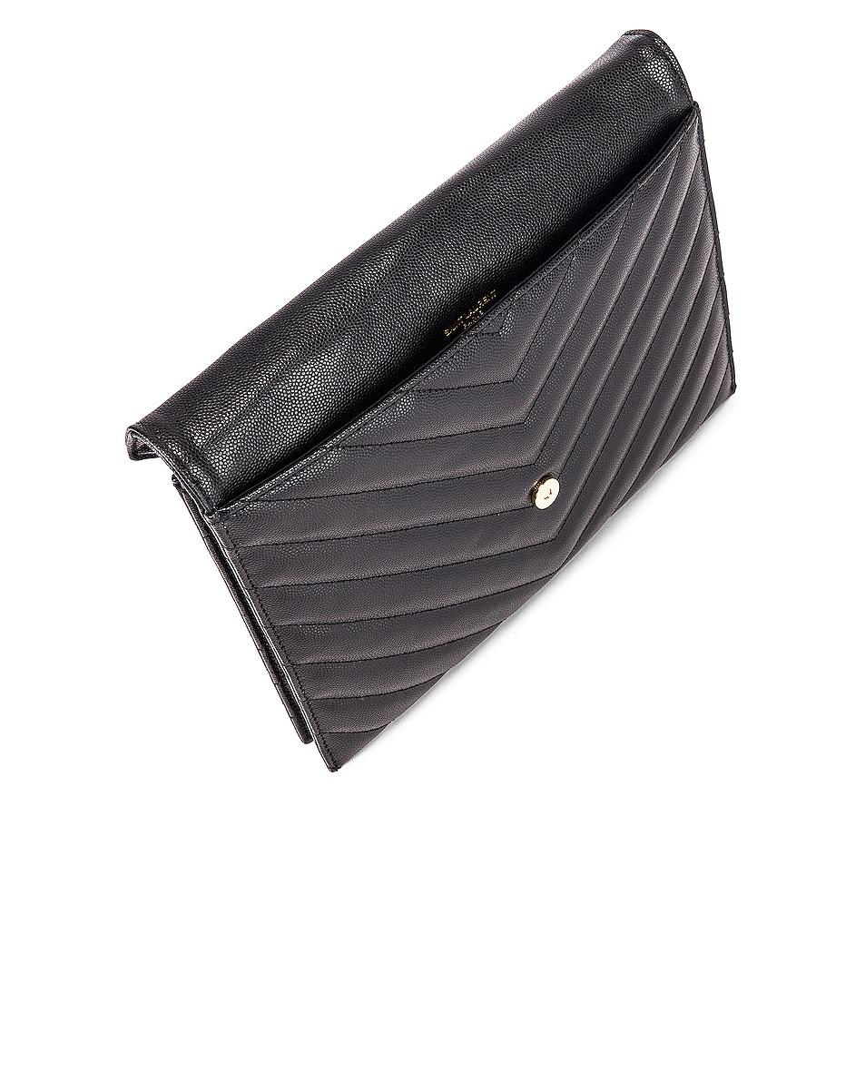 Image 5 of Saint Laurent Leather Tribeca Chain Wallet Bag in Black