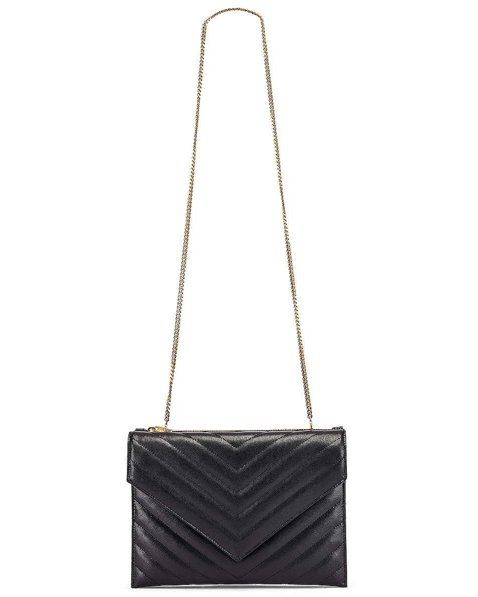 Image 6 of Saint Laurent Leather Tribeca Chain Wallet Bag in Black