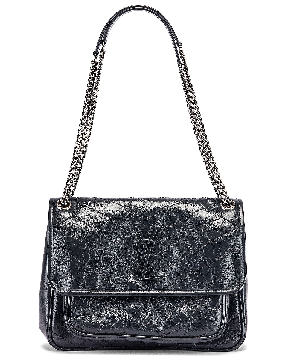 Image 6 of Saint Laurent Medium Niki Monogramme Chain Bag in Dark Smog
