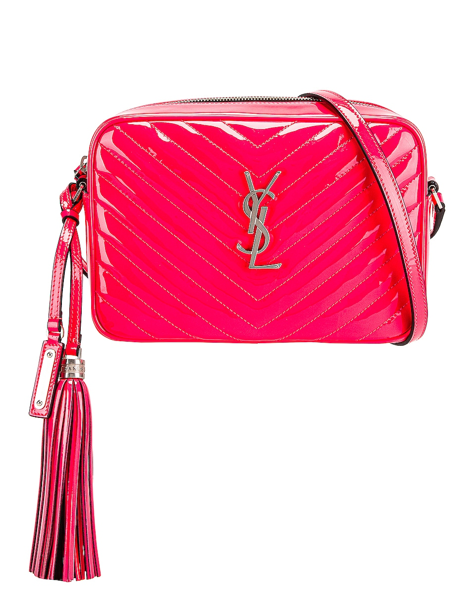 Image 1 of Saint Laurent Medium Monogramme Lou Satchel Bag in Neon Pink