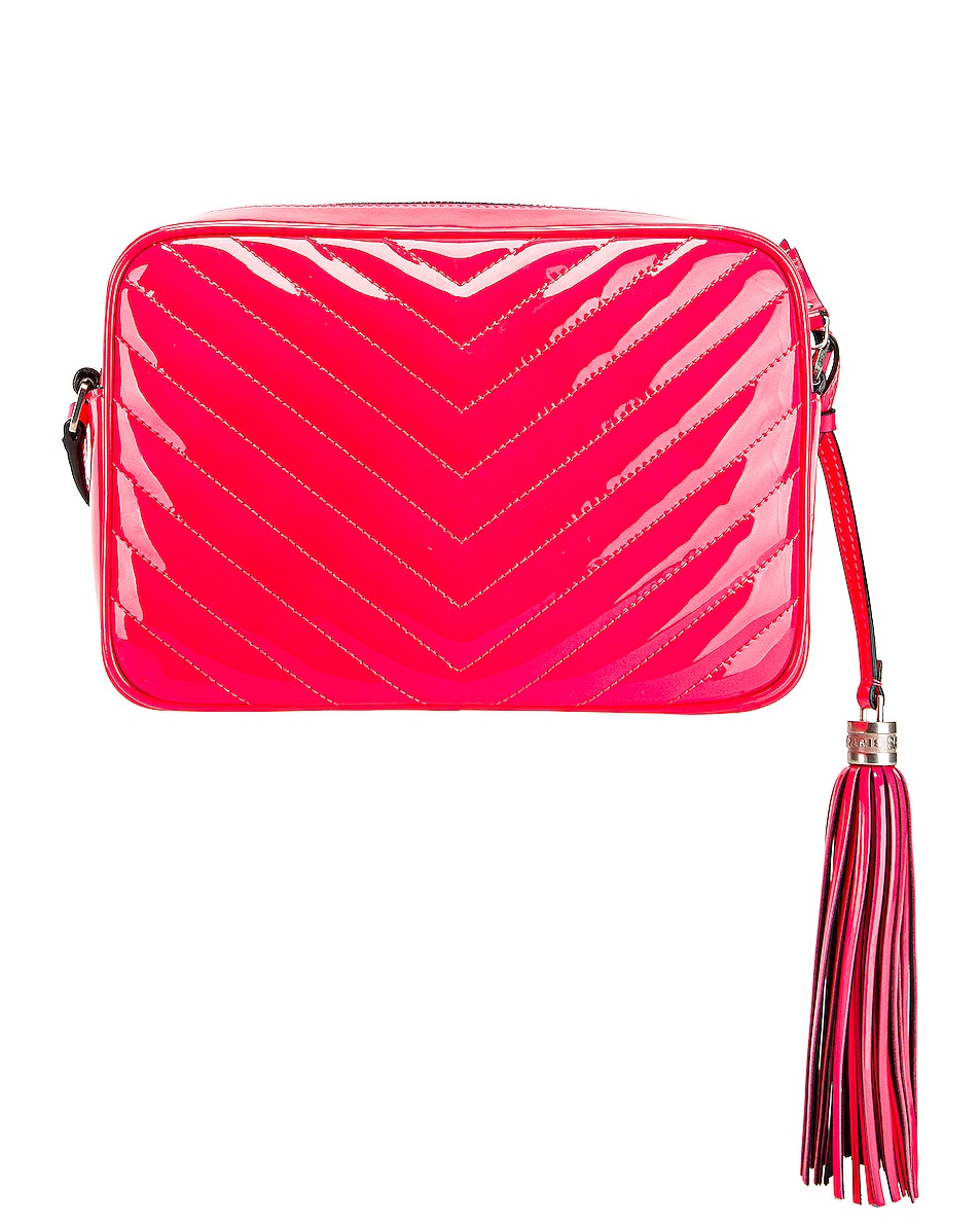 Image 3 of Saint Laurent Medium Monogramme Lou Satchel Bag in Neon Pink