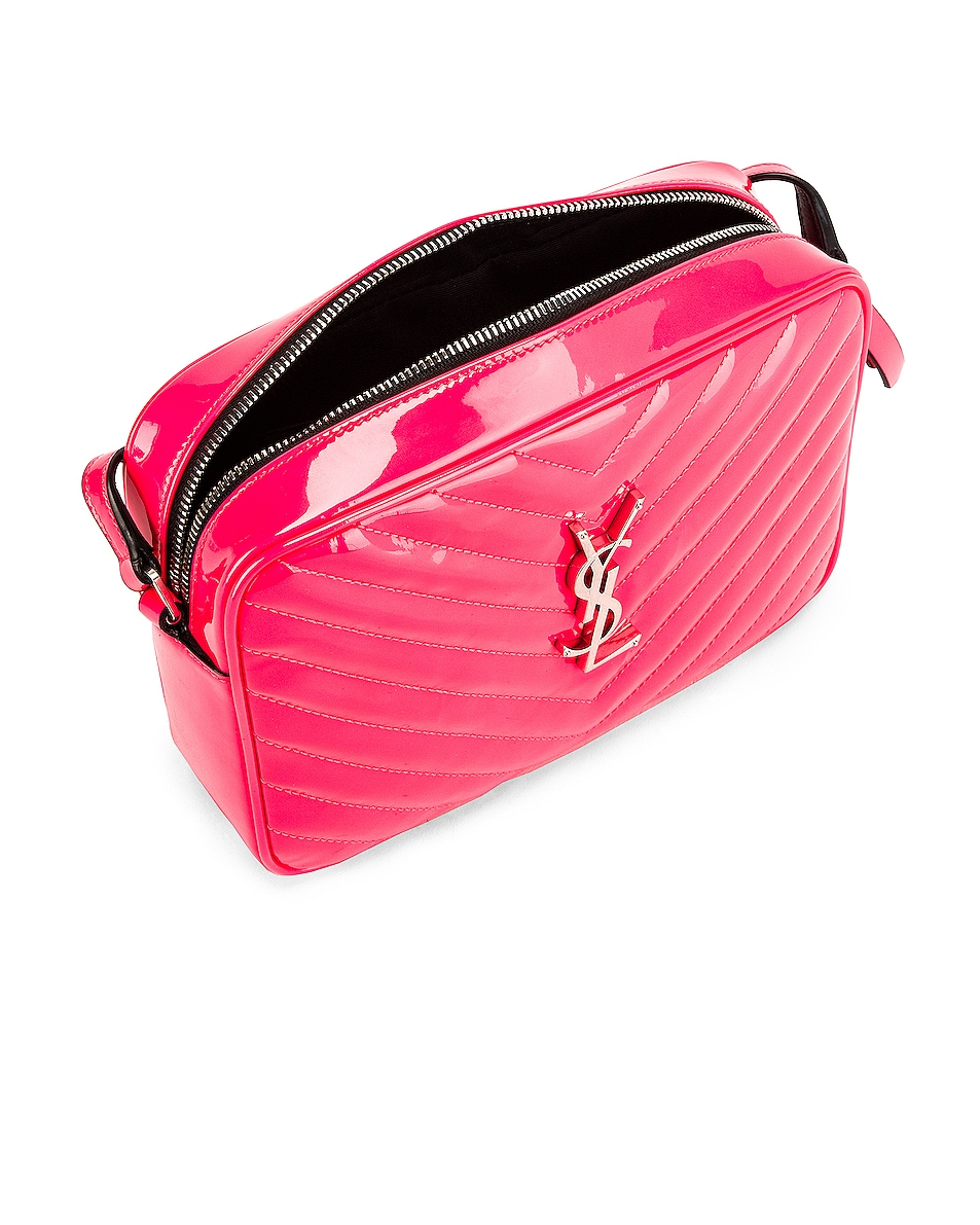 Image 5 of Saint Laurent Medium Monogramme Lou Satchel Bag in Neon Pink