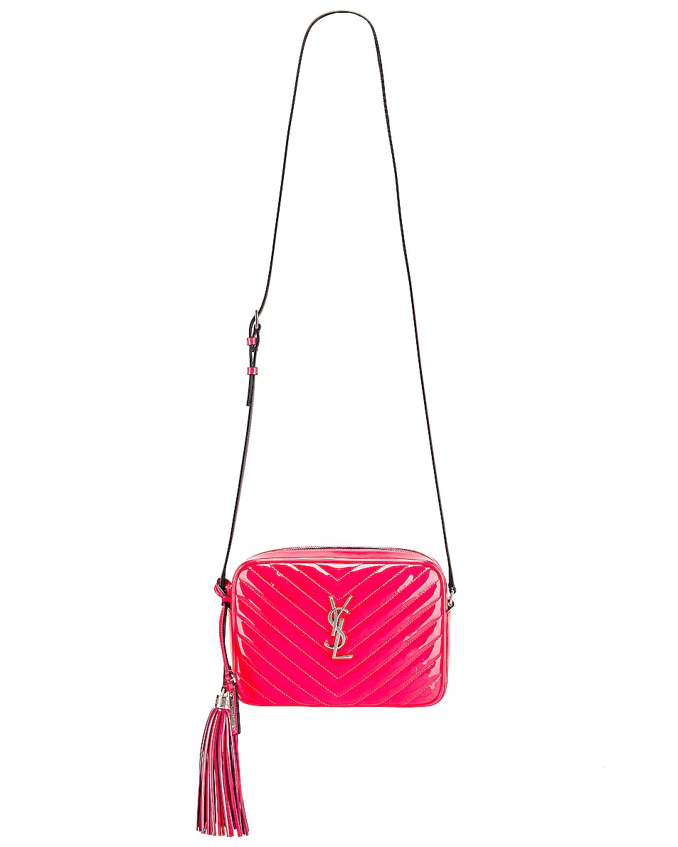 Image 6 of Saint Laurent Medium Monogramme Lou Satchel Bag in Neon Pink