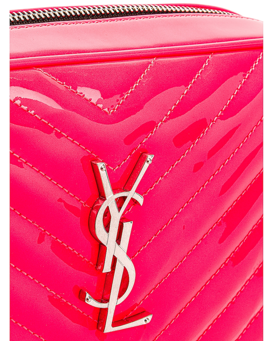 Image 8 of Saint Laurent Medium Monogramme Lou Satchel Bag in Neon Pink