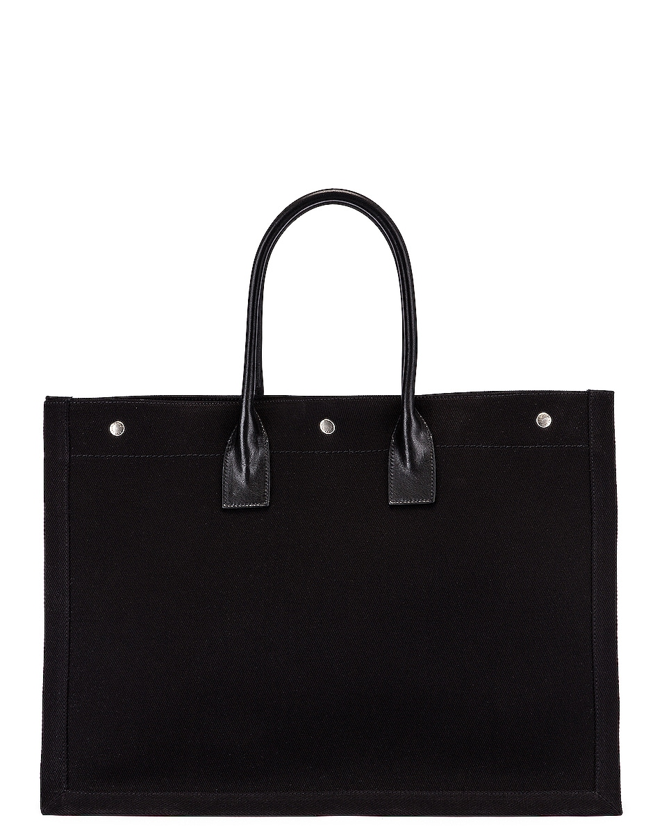 Image 3 of Saint Laurent Noe Tote in Black & White