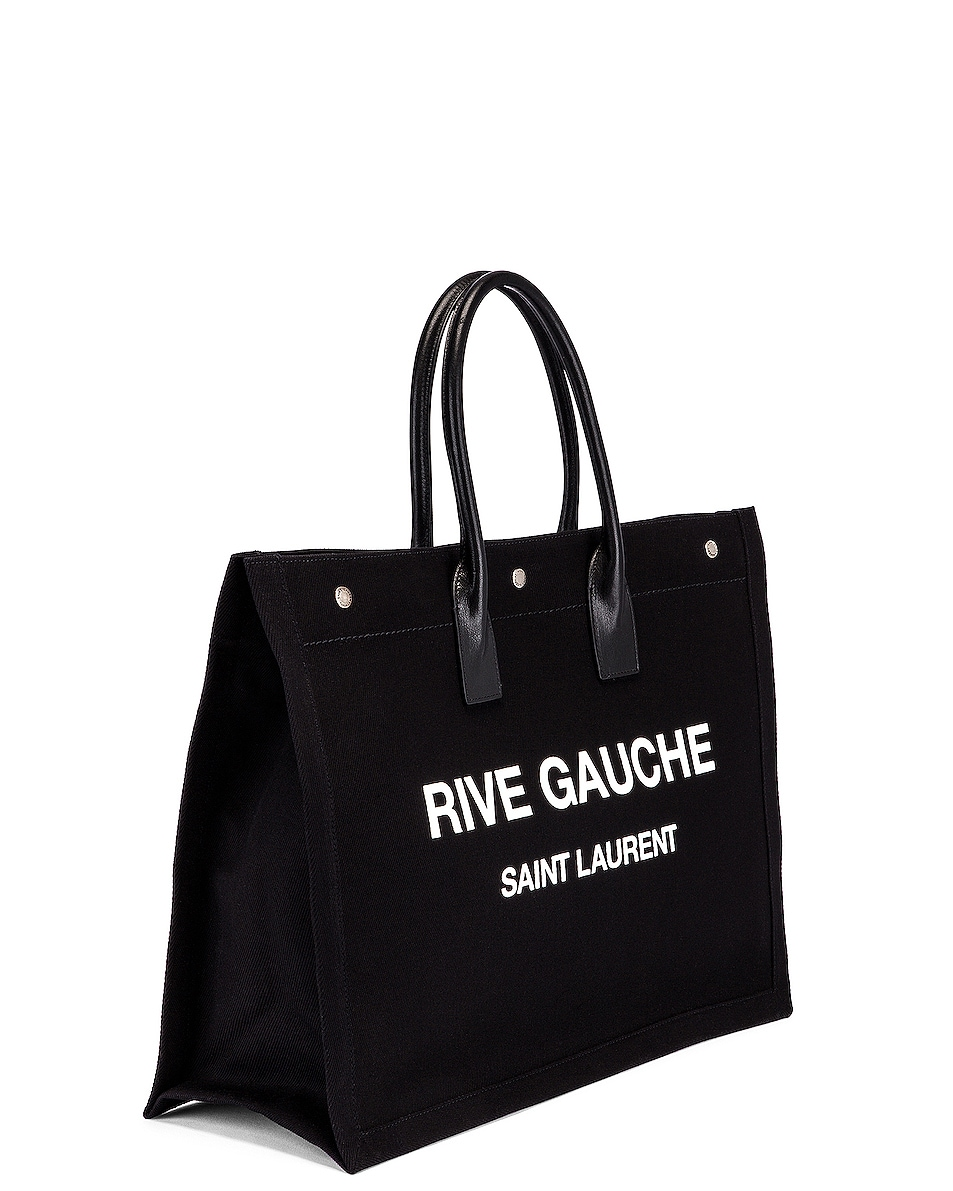 Image 4 of Saint Laurent Noe Tote in Black & White