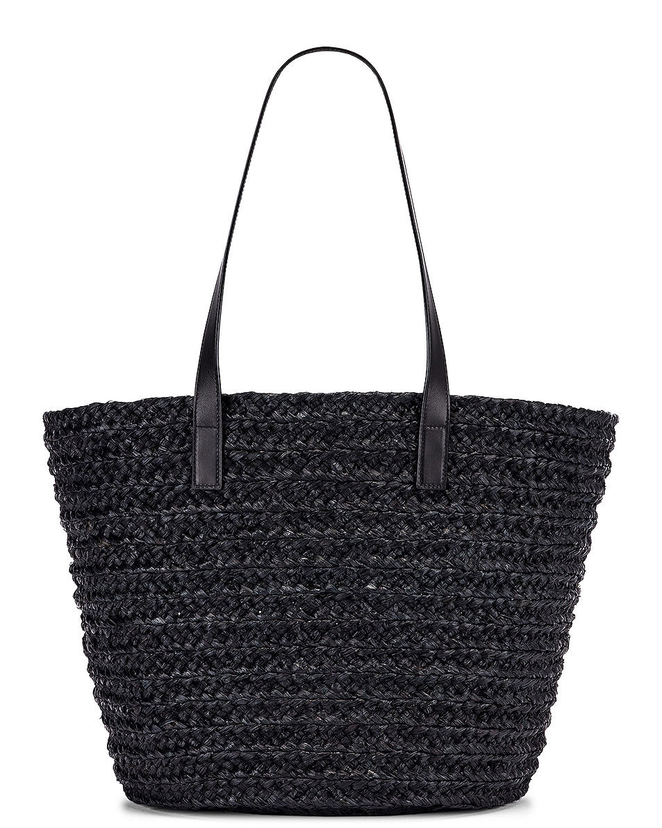 Image 2 of Saint Laurent Medium Rafia Panier Tote in Black