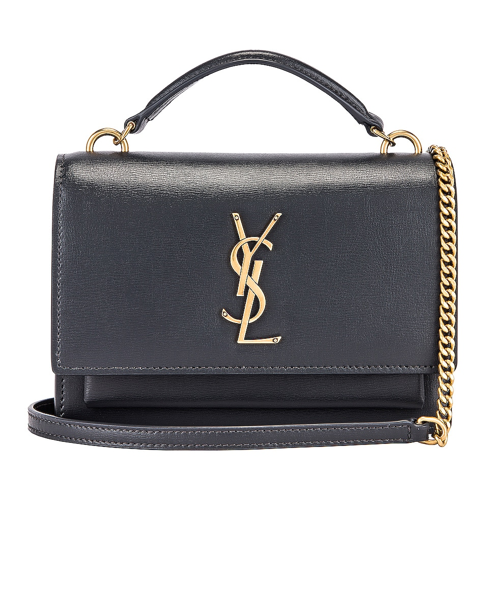 Image 1 of Saint Laurent Sunset Monogramme Crossbody Bag in Dark Smog