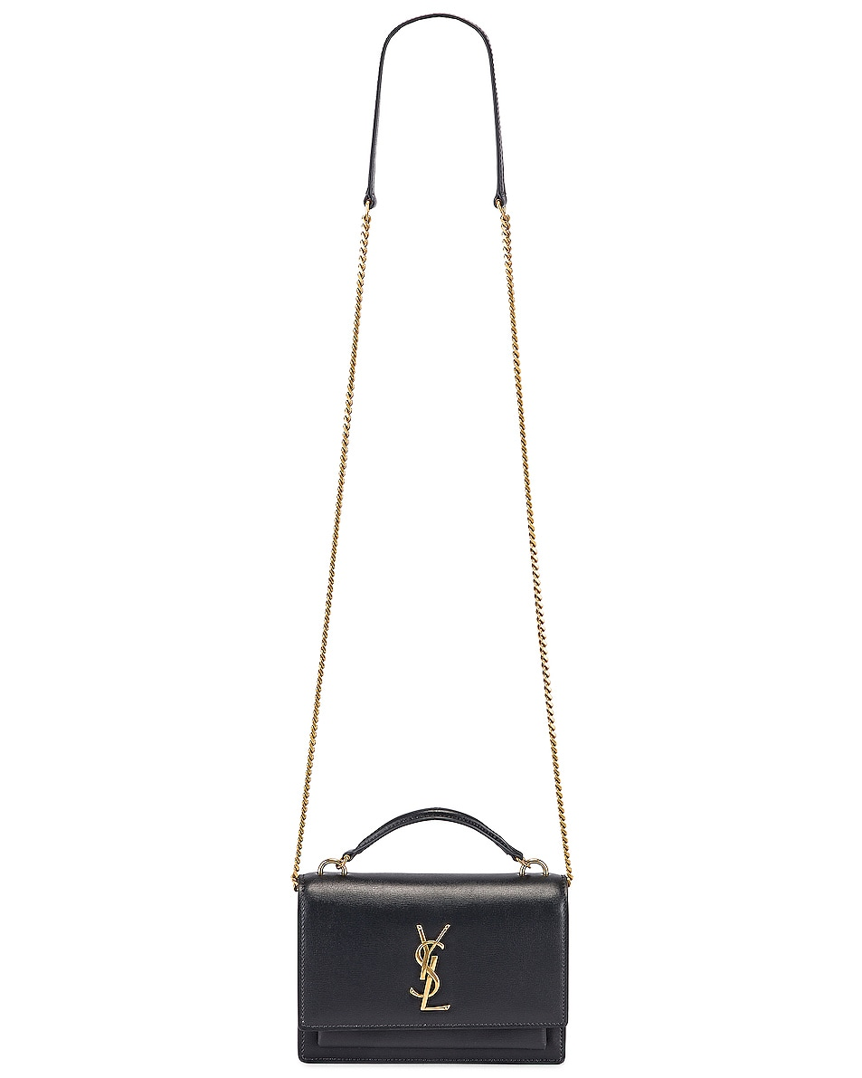 Image 6 of Saint Laurent Sunset Monogramme Crossbody Bag in Dark Smog