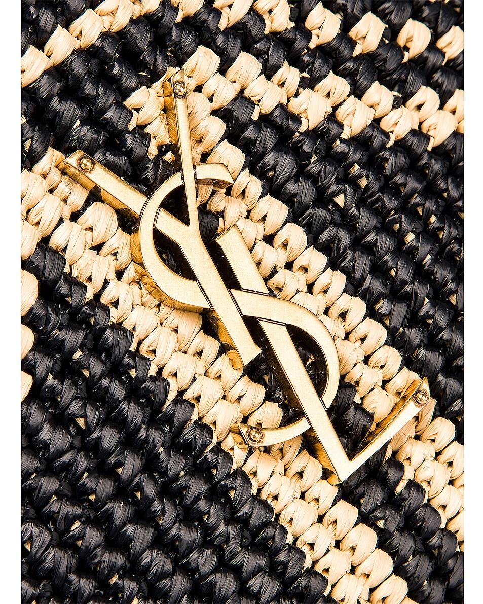 Image 8 of Saint Laurent Monogramme Lou Satchel Crossbody Bag in Black & Natural
