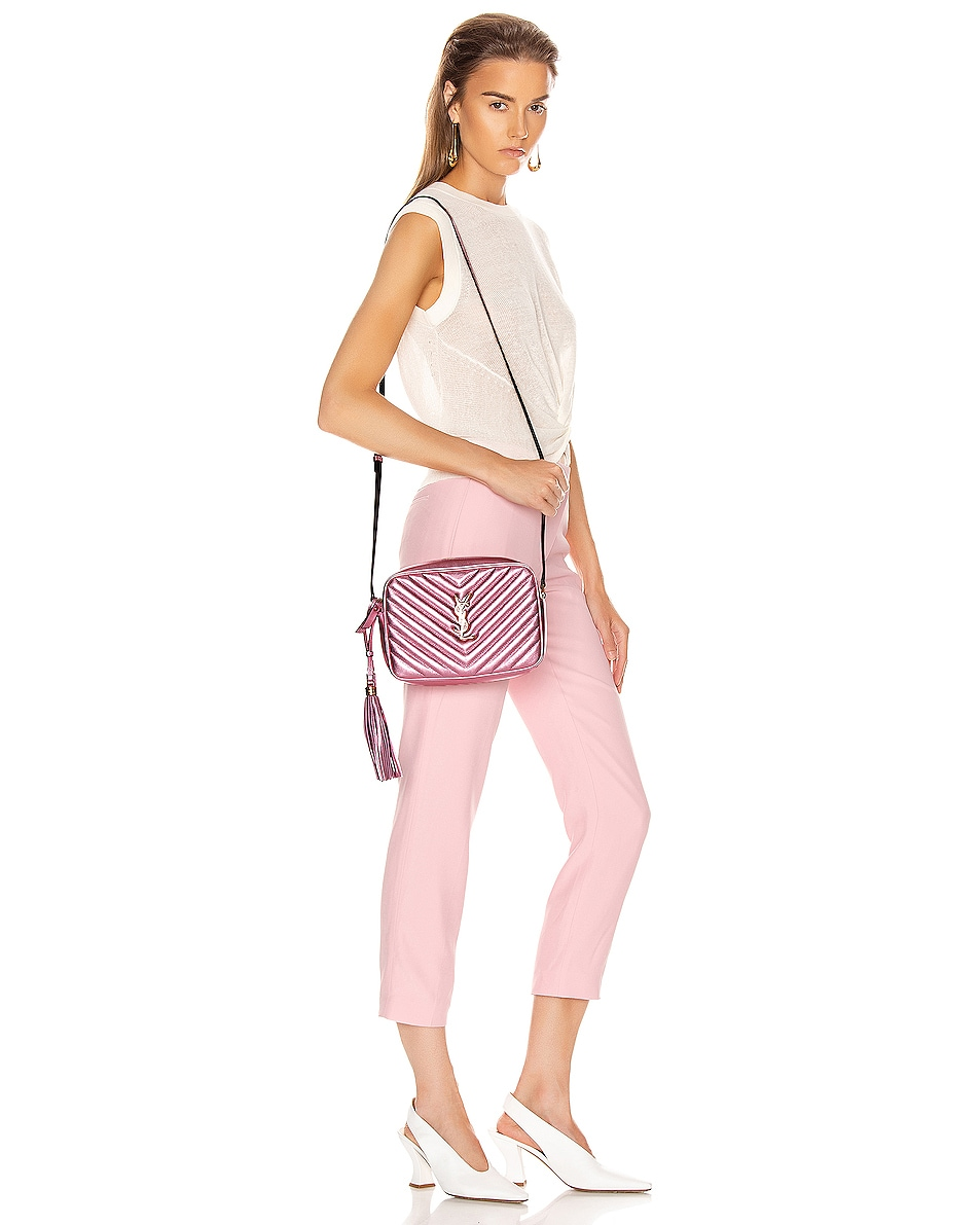 Image 2 of Saint Laurent Medium Monogramme Lou Satchel Bag in Vegas Pink