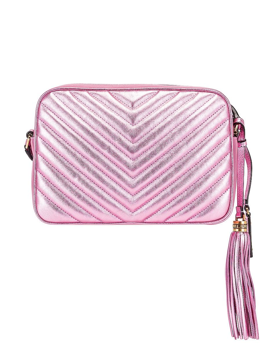 Image 3 of Saint Laurent Medium Monogramme Lou Satchel Bag in Vegas Pink
