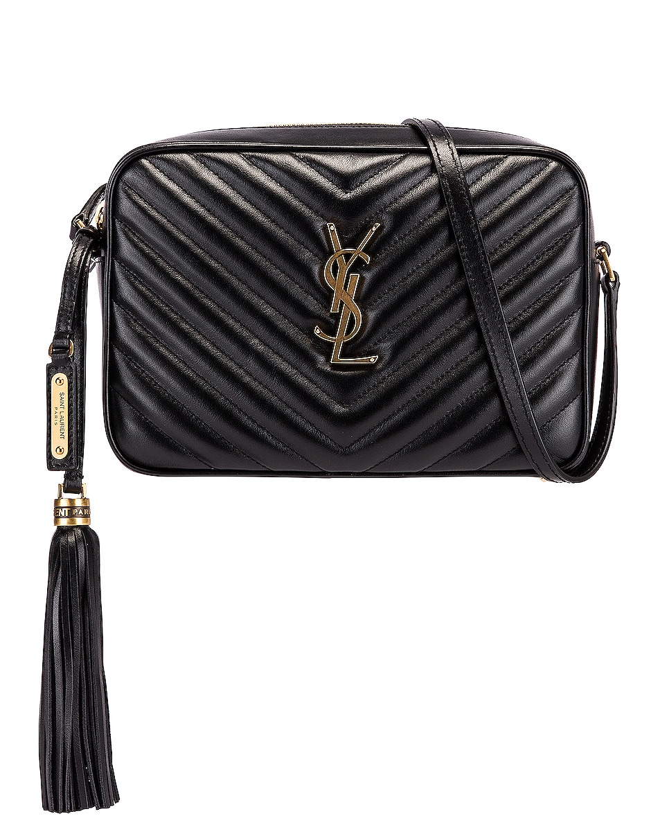 Image 1 of Saint Laurent Medium Monogramme Lou Satchel Bag in Black
