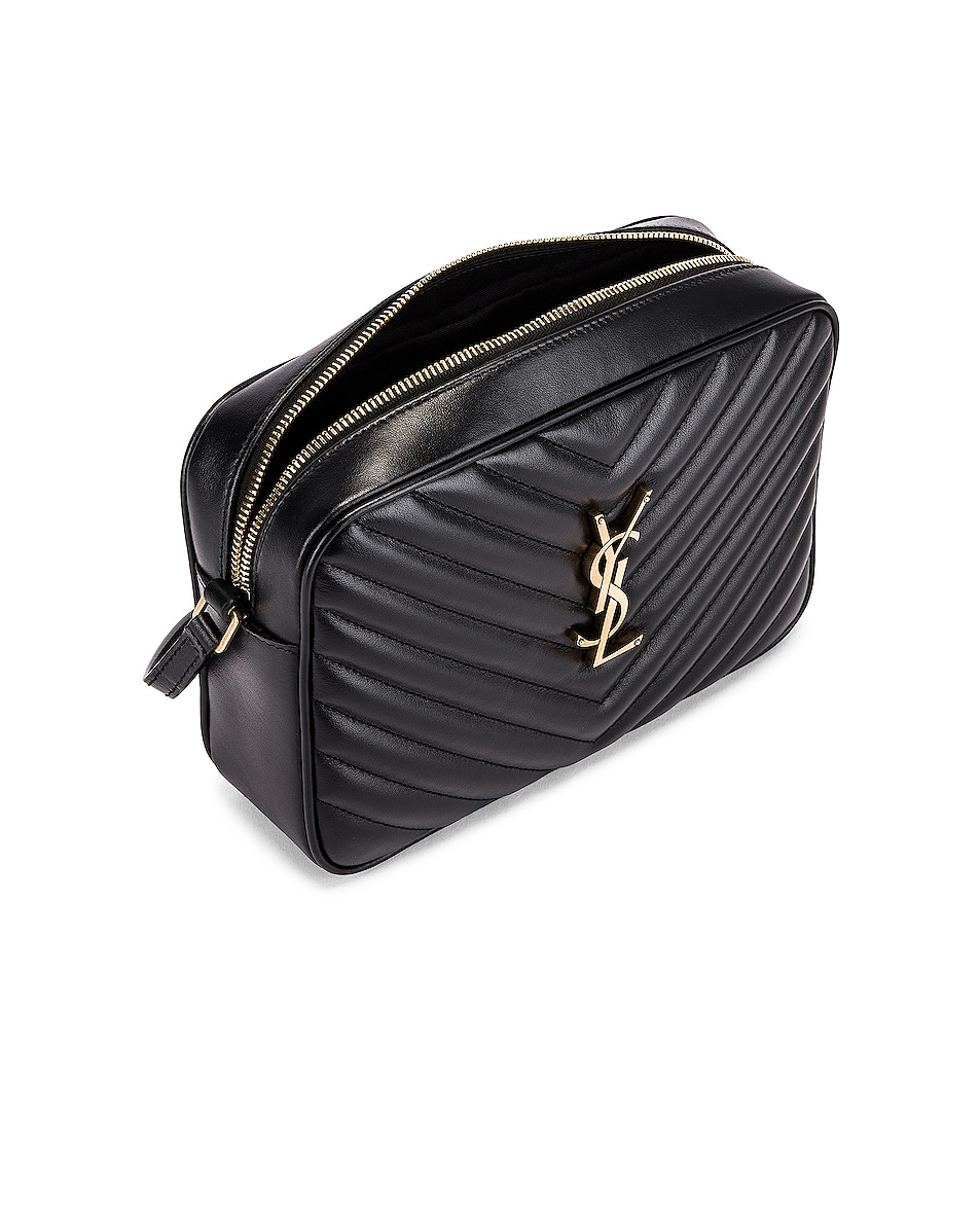 Image 4 of Saint Laurent Medium Monogramme Lou Satchel Bag in Black
