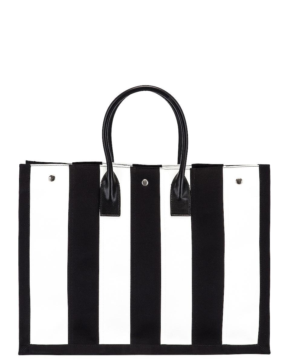 Image 3 of Saint Laurent Noe Stripe Tote in Black & White