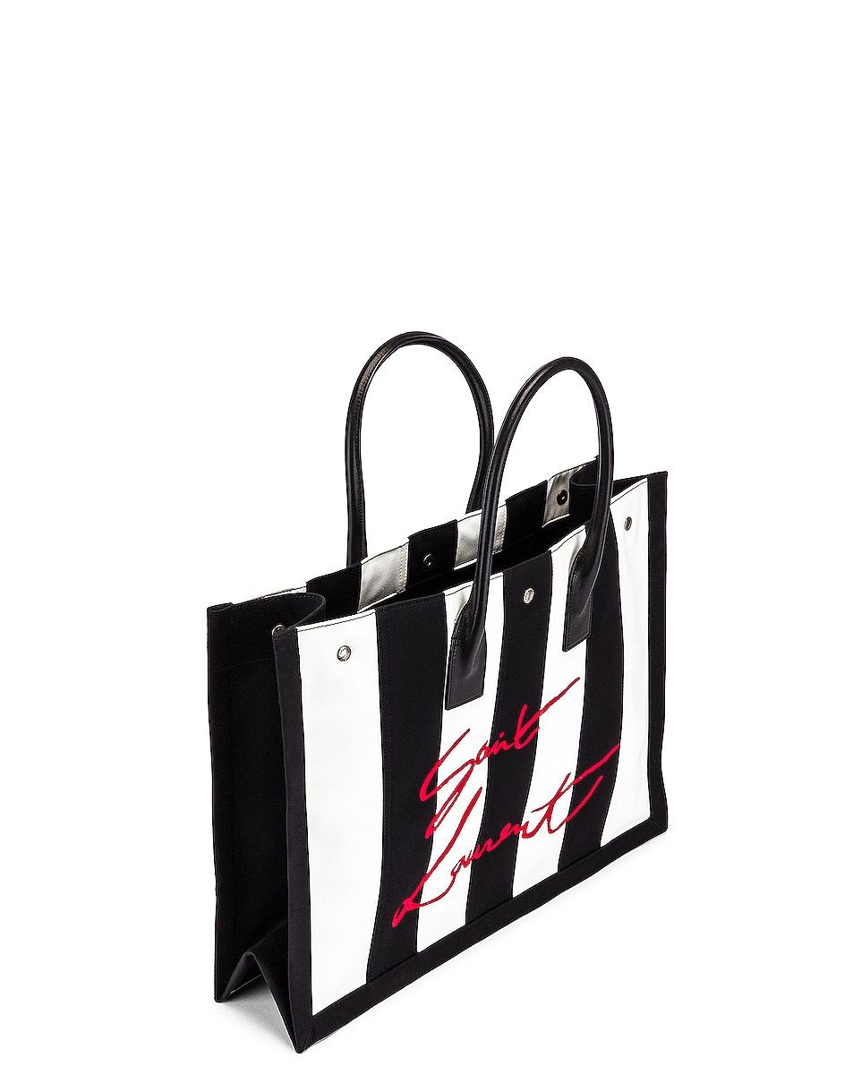 Image 5 of Saint Laurent Noe Stripe Tote in Black & White