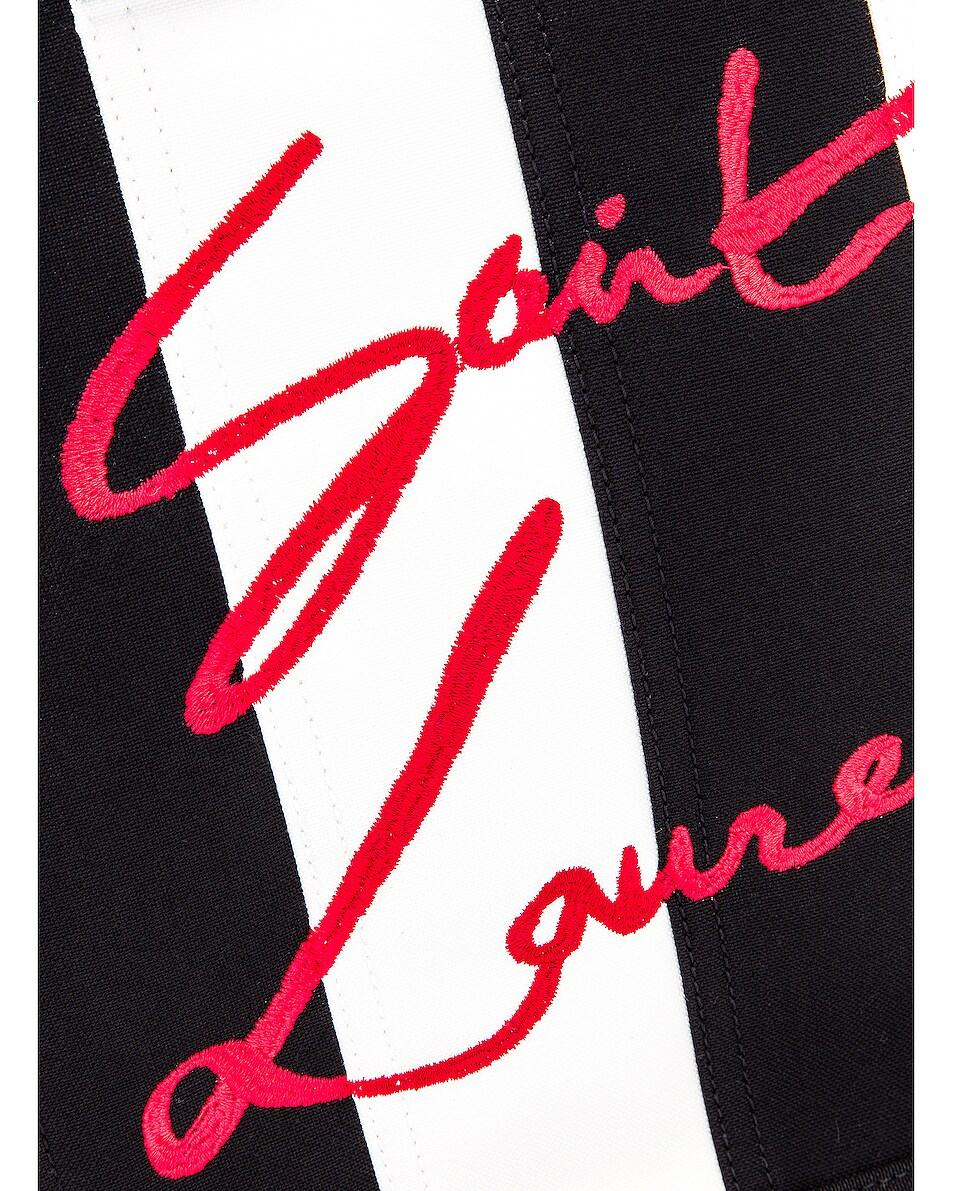 Image 7 of Saint Laurent Noe Stripe Tote in Black & White