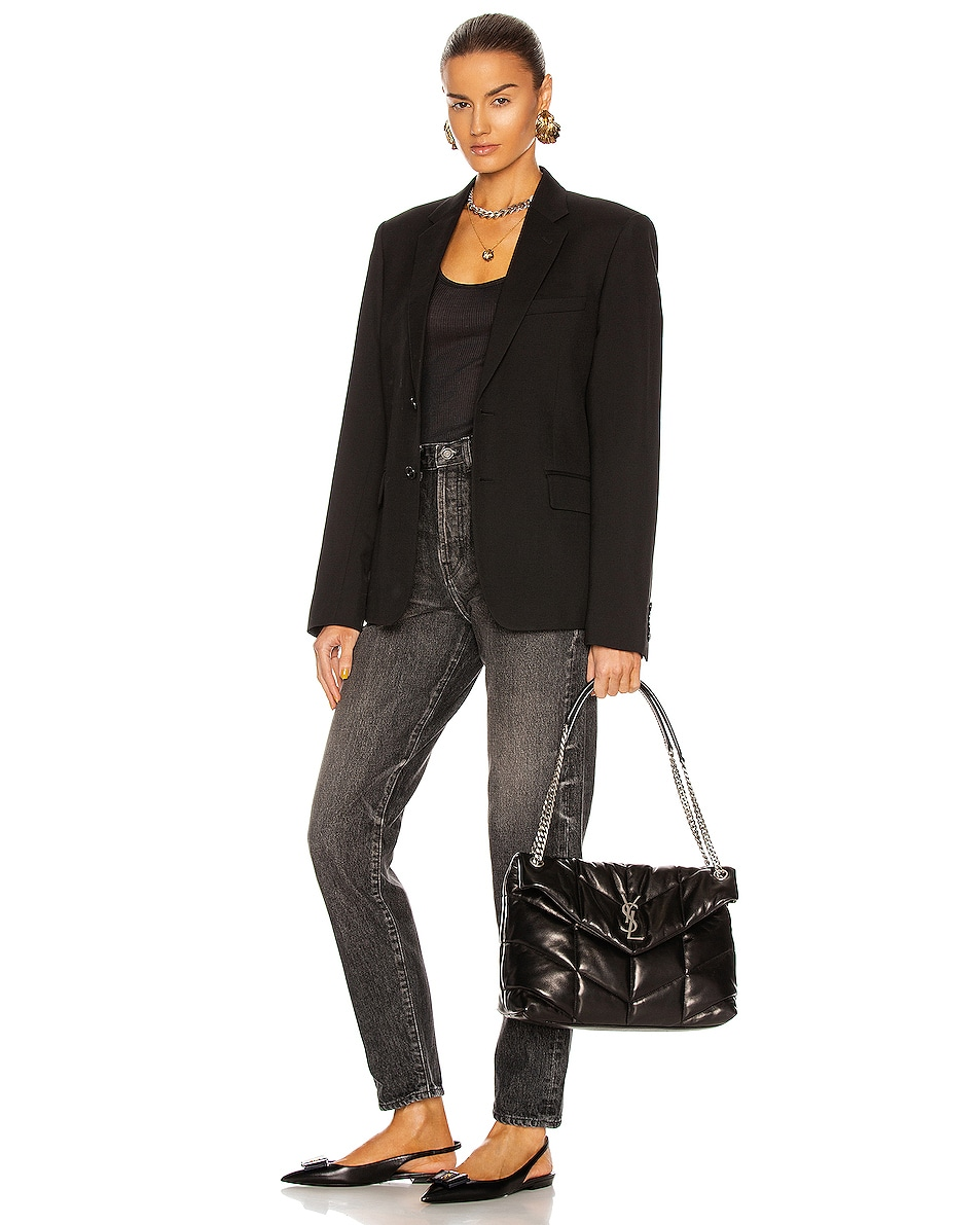Image 2 of Saint Laurent Medium Monogramme Puffer Loulou Shoulder Bag in Black