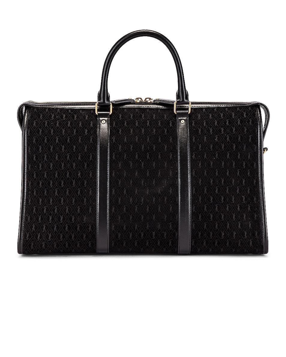 Image 2 of Saint Laurent Suede Monogramme Duffel Bag in Black