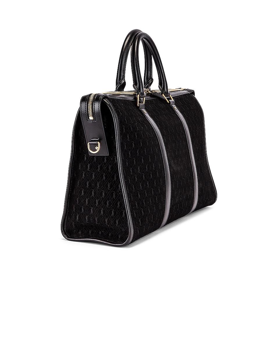 Image 3 of Saint Laurent Suede Monogramme Duffel Bag in Black