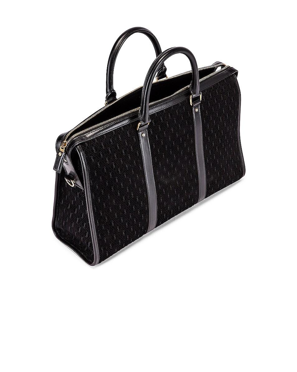 Image 4 of Saint Laurent Suede Monogramme Duffel Bag in Black