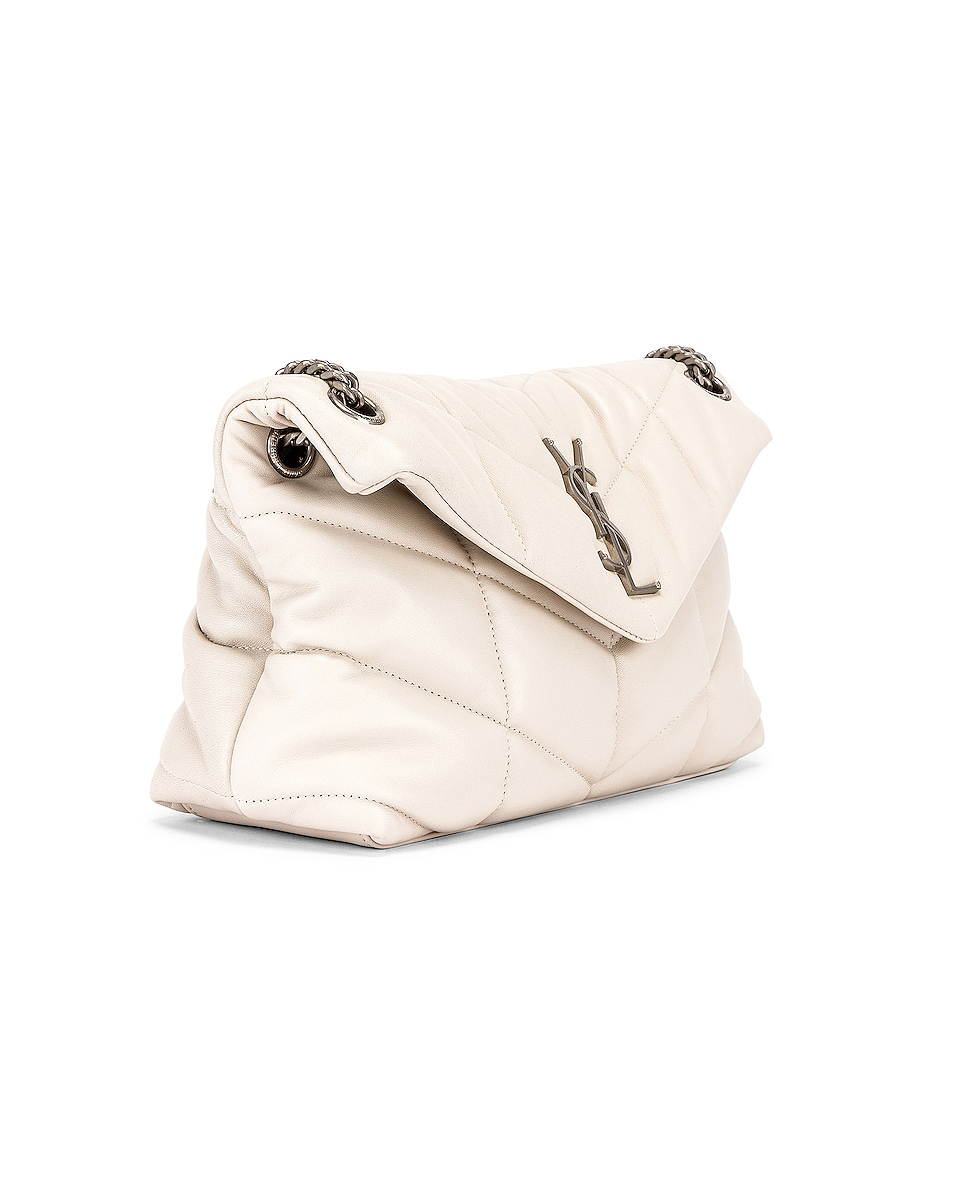 Image 4 of Saint Laurent Small Monogramme Puffer Loulou Shoulder Bag in Crema Soft