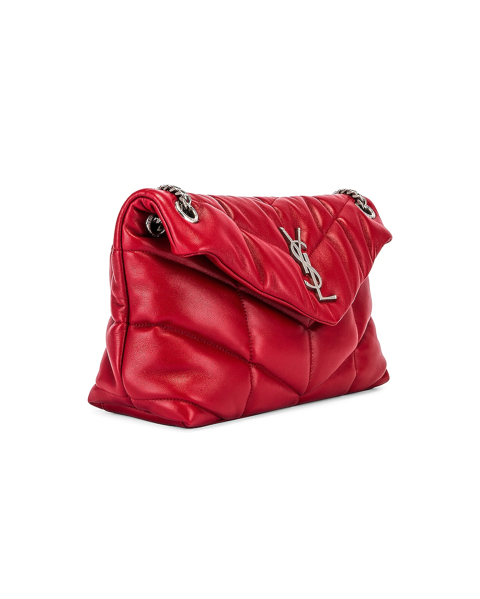 Image 4 of Saint Laurent Small Monogramme Puffer Loulou Shoulder Bag in Red