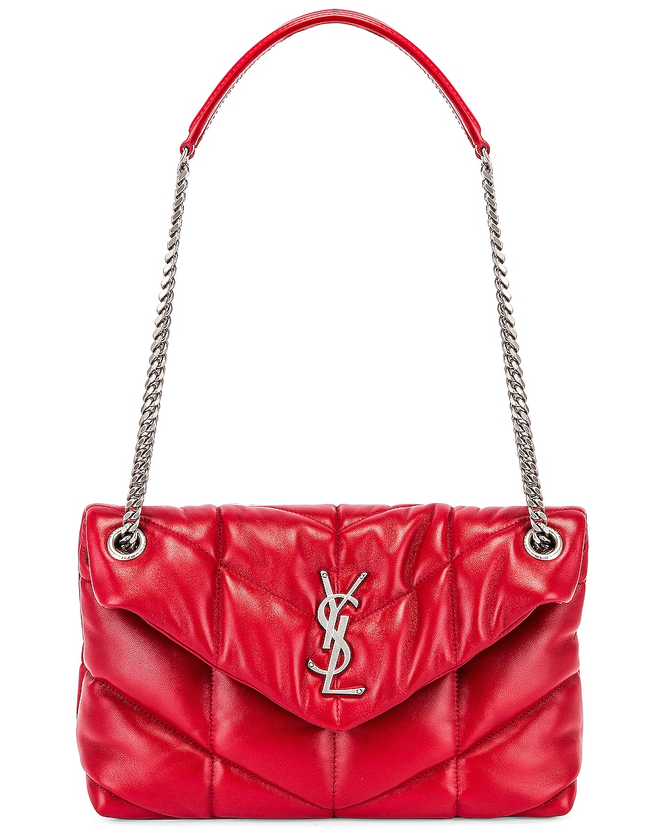 Image 6 of Saint Laurent Small Monogramme Puffer Loulou Shoulder Bag in Red