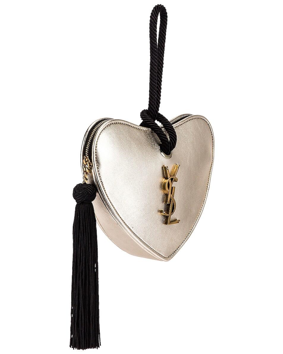 Image 4 of Saint Laurent Sac Coeur Bag in Platino & Black