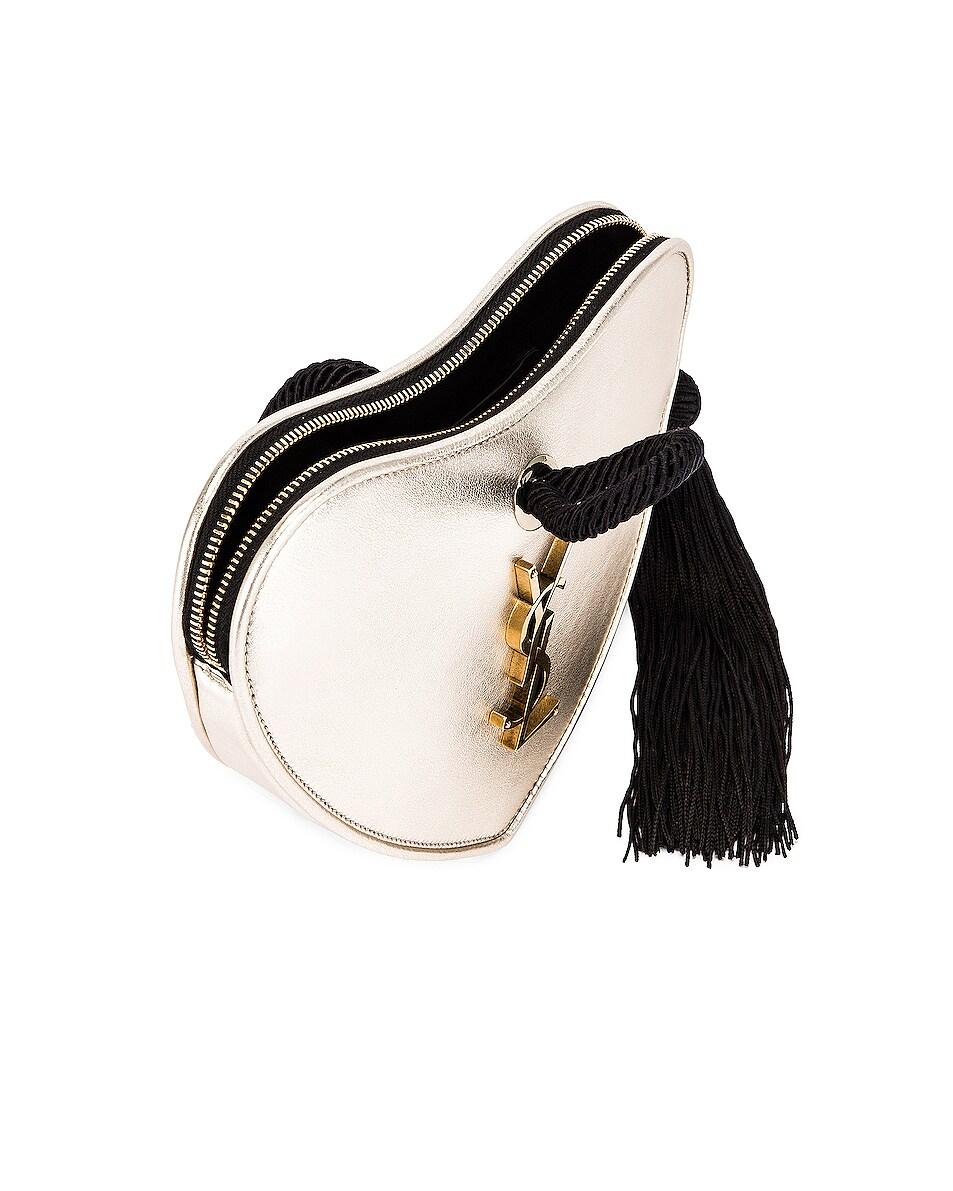 Image 5 of Saint Laurent Sac Coeur Bag in Platino & Black