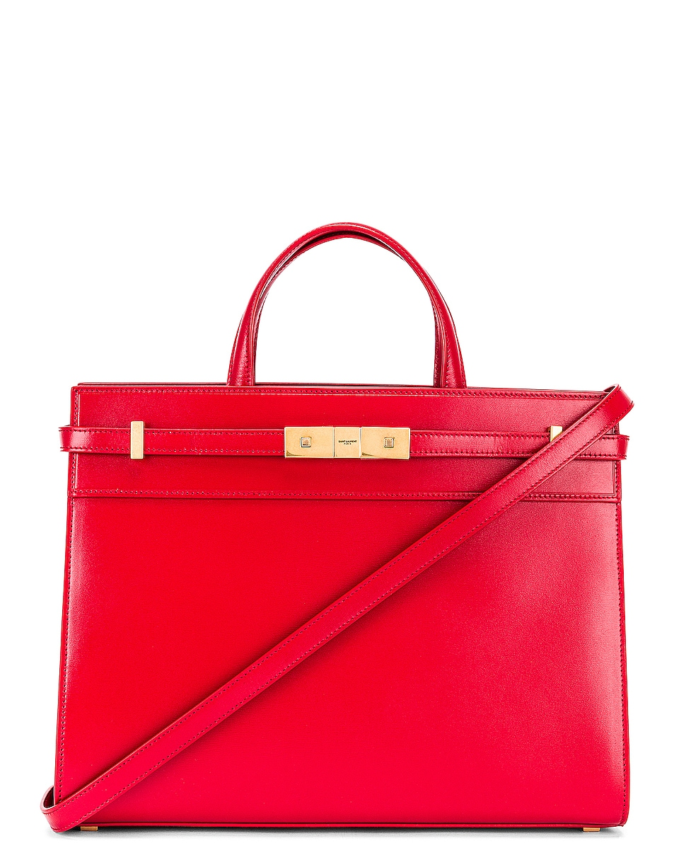 Image 1 of Saint Laurent Small Manhattan Shopping Bag in Red