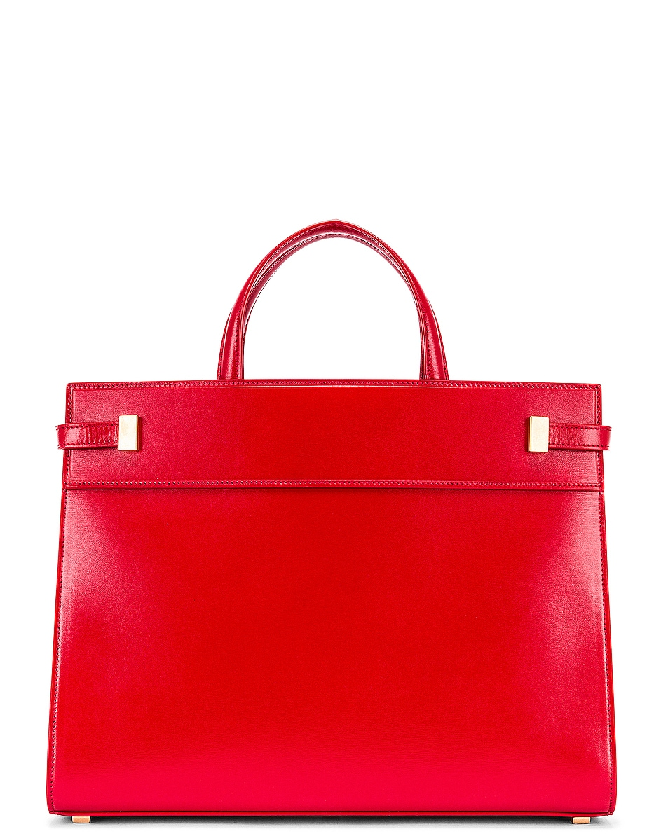Image 3 of Saint Laurent Small Manhattan Shopping Bag in Red
