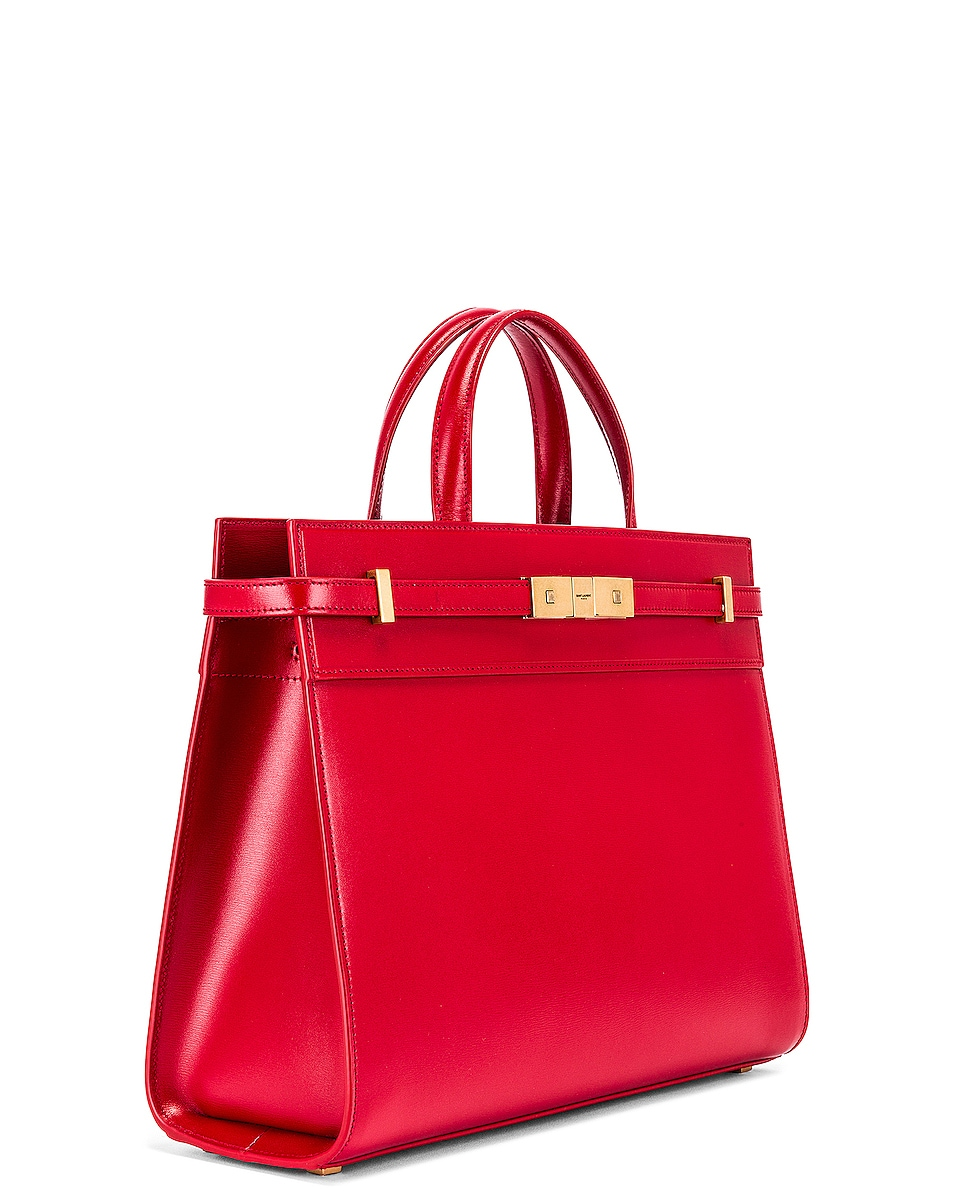 Image 4 of Saint Laurent Small Manhattan Shopping Bag in Red