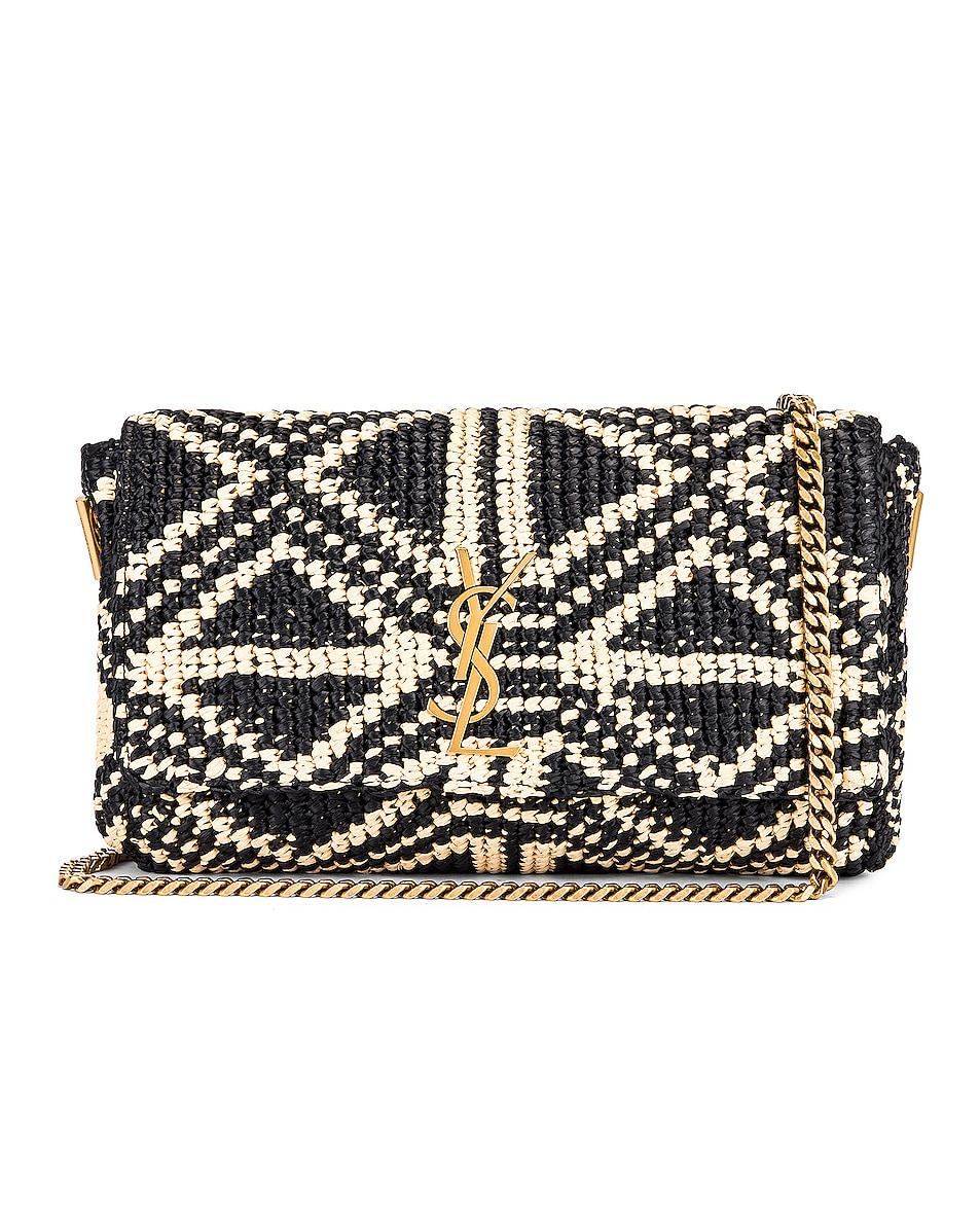 Image 1 of Saint Laurent Rafia Monogramme Kate Crossbody Bag in Black & Natural