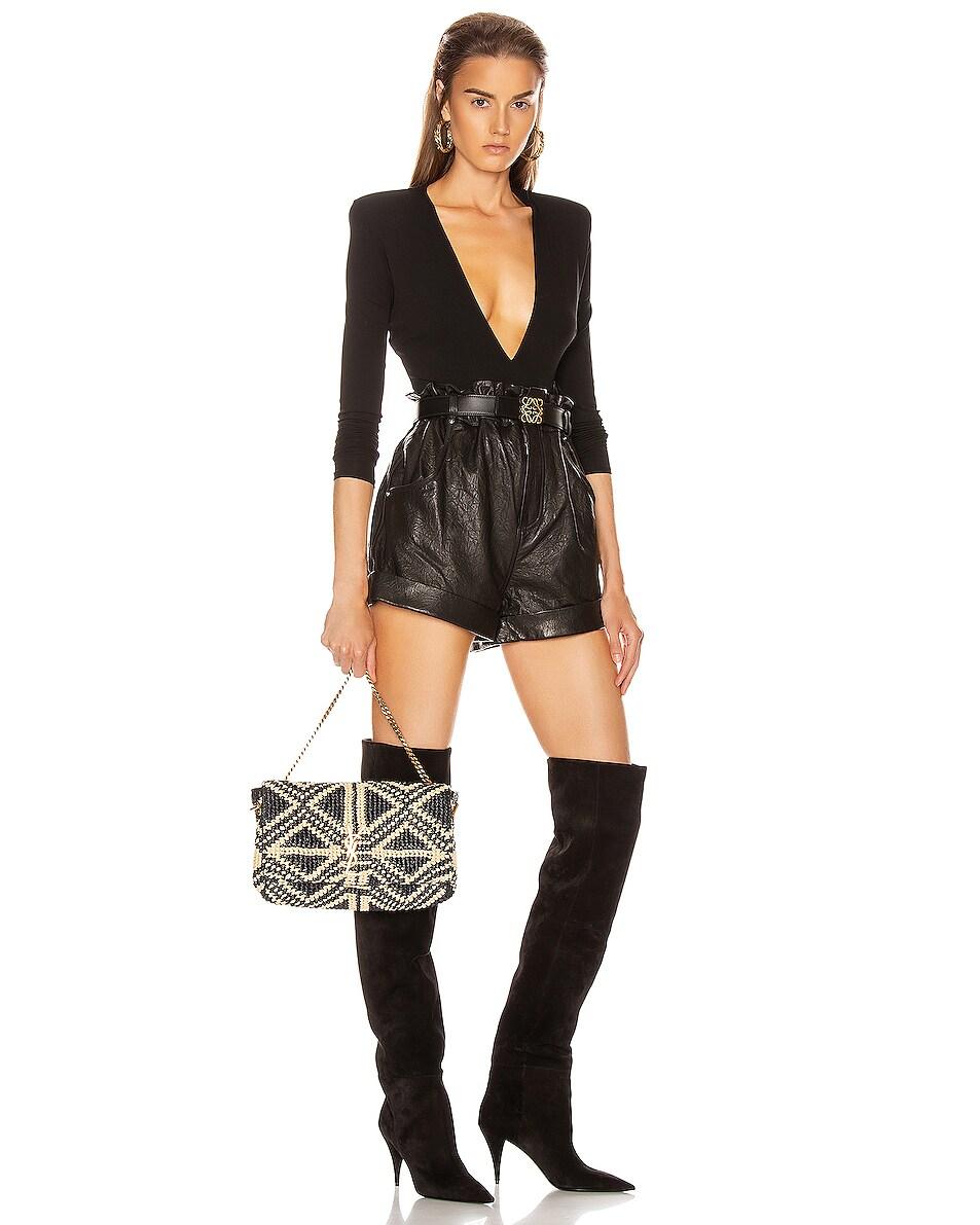 Image 2 of Saint Laurent Rafia Monogramme Kate Crossbody Bag in Black & Natural