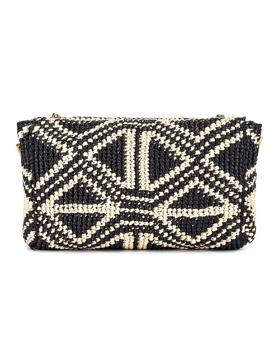 Image 3 of Saint Laurent Rafia Monogramme Kate Crossbody Bag in Black & Natural