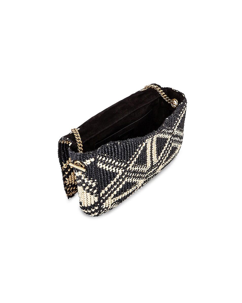 Image 5 of Saint Laurent Rafia Monogramme Kate Crossbody Bag in Black & Natural