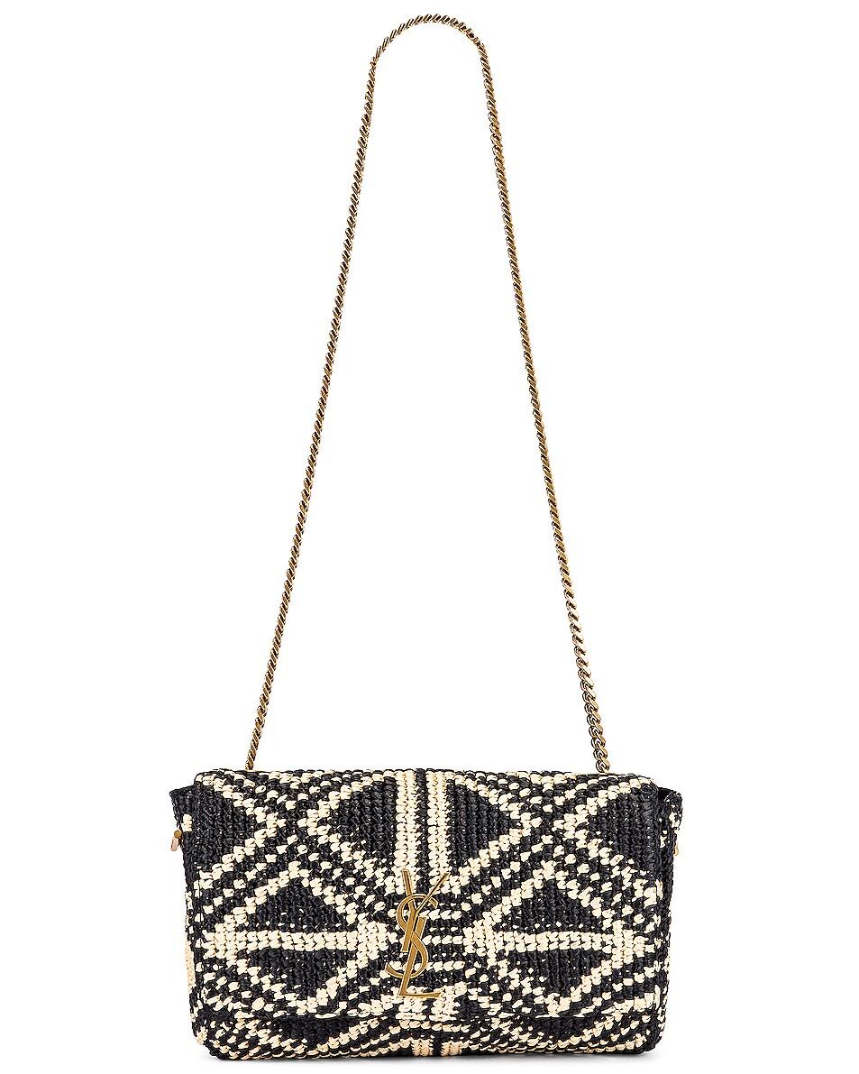 Image 6 of Saint Laurent Rafia Monogramme Kate Crossbody Bag in Black & Natural