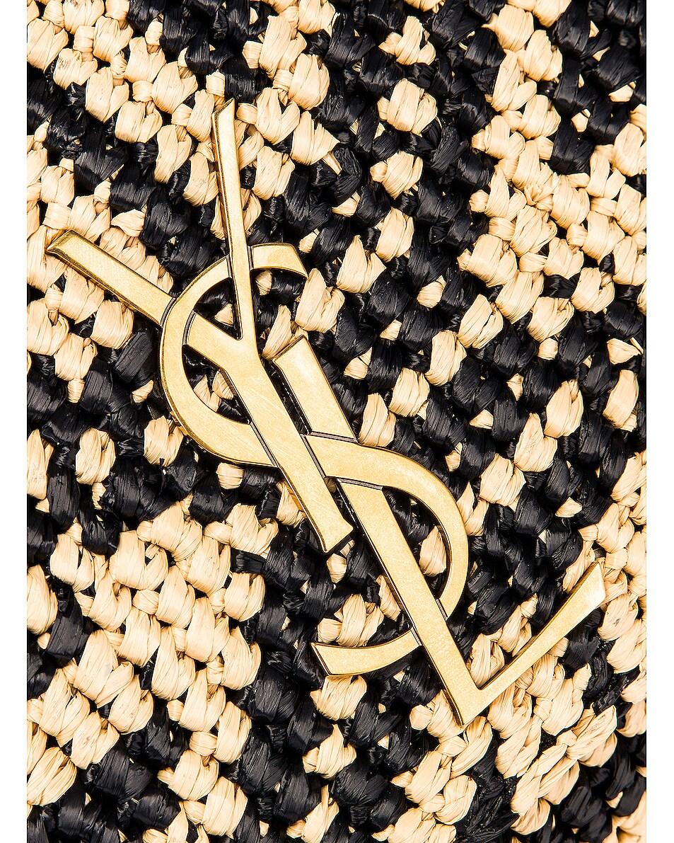 Image 8 of Saint Laurent Rafia Monogramme Kate Crossbody Bag in Black & Natural