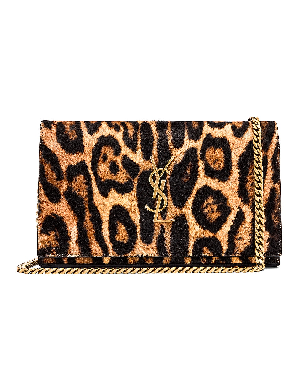 Image 1 of Saint Laurent Leopard Monogramme Chain Wallet Crossbody Bag in Black & Natural