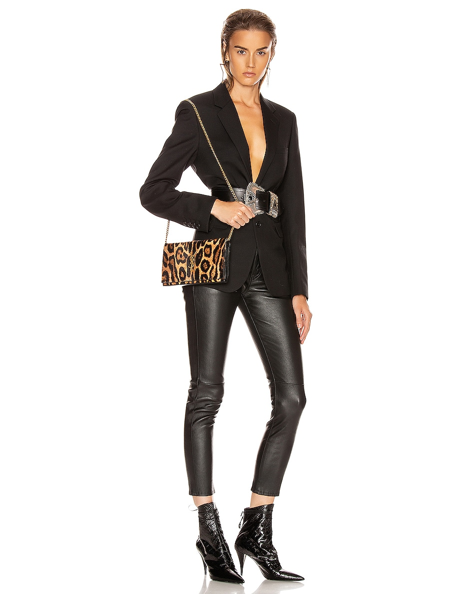 Image 2 of Saint Laurent Leopard Monogramme Chain Wallet Crossbody Bag in Black & Natural
